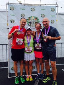 Kris (overall winner) and wife Mindy Przeor with Me and John after the 10K.