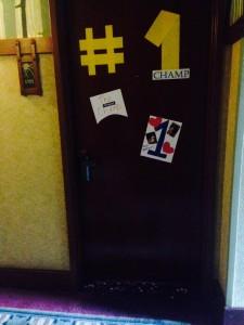 We decorated Kris's hotel room door after he won the 10K.