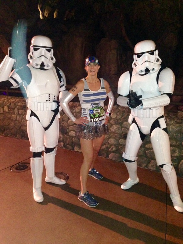 I dressed as R2D2 for the Half Marathon and of course had to pose with some storm troopers on the course.