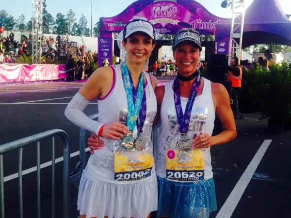 """Princess Bride"" Tara And ""Cinderella"" Stacey after the Princess Half Marathon"