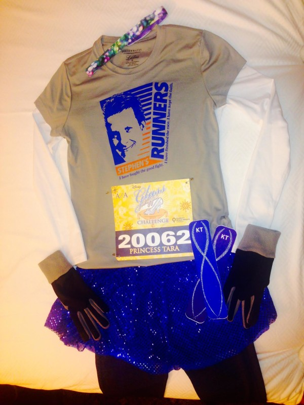 """""""Flat Tara"""" prior to the 10K race with my blue #teamsparkle skirt and memorial shirt of Stephen"""
