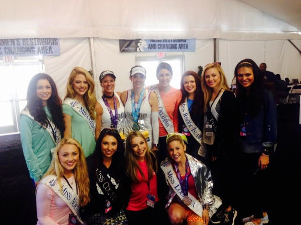 Posing with Miss America (center bottom row) and 9 other state winners!